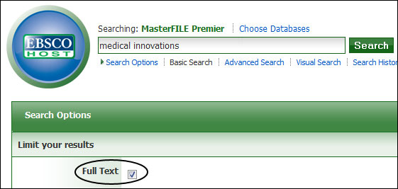 "Image showing how to perform a search in a Ebscohost database using ""and"" to connect search terms together."